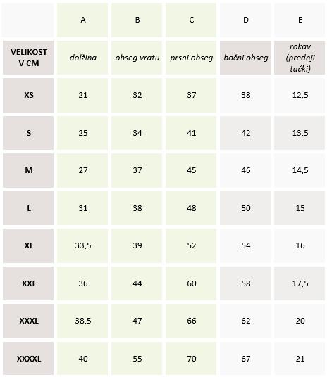 Tabela velikosti Kapucar